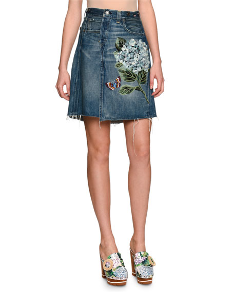 Embroidered Hydrangea Denim Skirt, Medium Blue