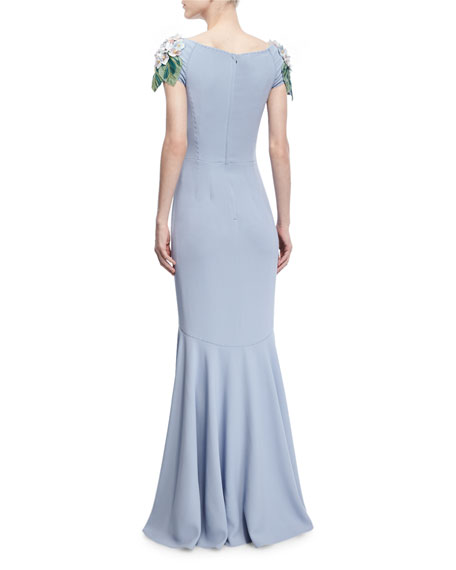 Hydrangea-Embellished Cap-Sleeve Gown