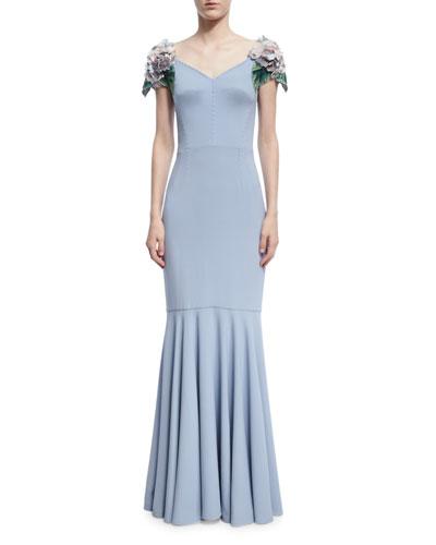 Hydrangea-Embellished Cap-Sleeve Gown