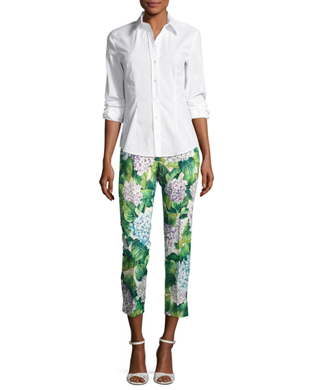 Hydrangea Brocade Cropped Straight-Leg Pants, Green