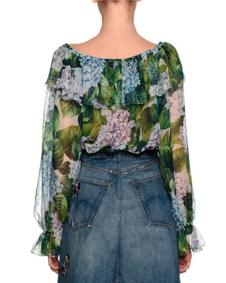 Hydrangea Off-the-Shoulder Chiffon Blouse, Green