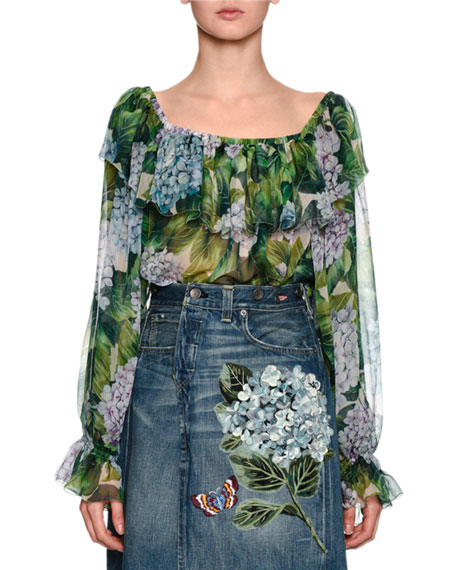 Dolce & Gabbana Hydrangea Off-the-Shoulder Chiffon Blouse, Green