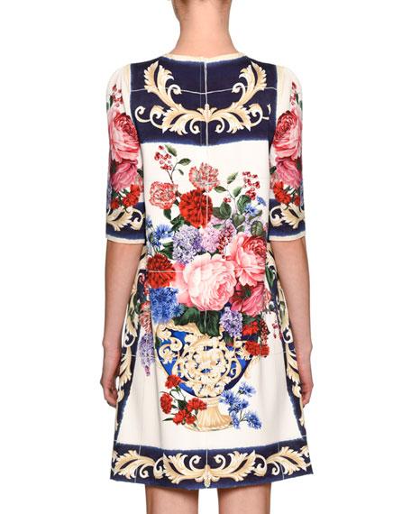 Floral Vase Charmeuse Shift Dress, White