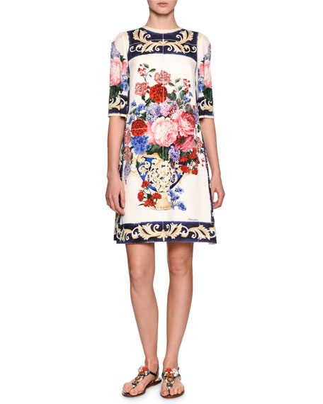 Dolce & Gabbana Floral Vase Charmeuse Shift Dress,