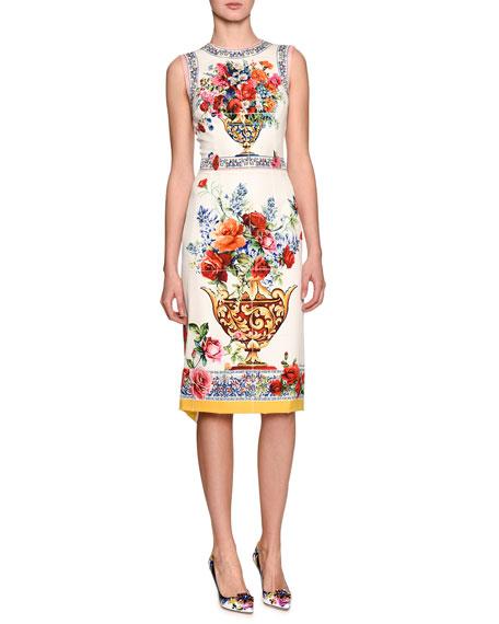 6101c4ca5698 Dolce   Gabbana Floral Vase Sleeveless Sheath Dress