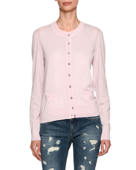 Dolce & Gabbana Cashmere Jewel-Button Cardigan, Light Pink