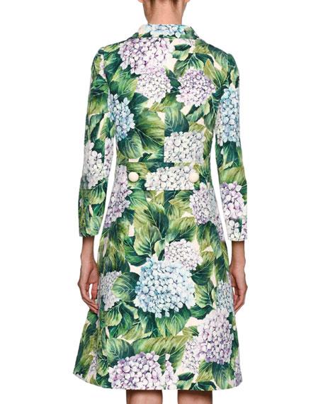 Hydrangea Single-Breasted Brocade Coat, Green