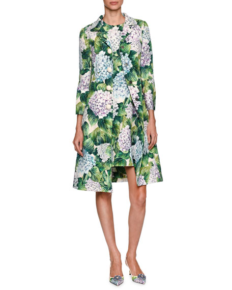 Dolce & Gabbana Hydrangea Single-Breasted Brocade Coat, Green