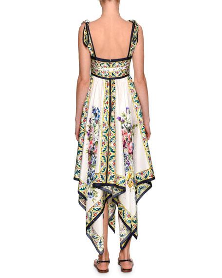 Floral-Print Silk Handkerchief Dress, White