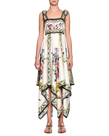 Dolce & Gabbana Floral-Print Silk Handkerchief Dress, White