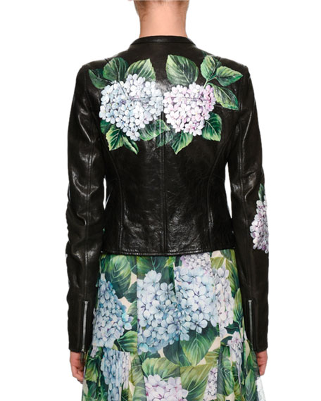 Hydrangea Leather Biker Jacket