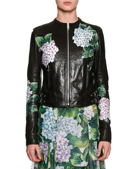 Dolce & Gabbana Hydrangea Leather Biker Jacket, Black