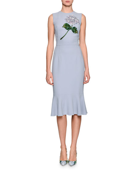 Dolce & Gabbana Hydrangea Embellished Flounce-Hem Dress, Light