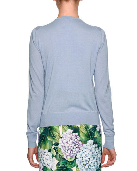 Embellished Hydrangea Cardigan Sweater, Light Blue