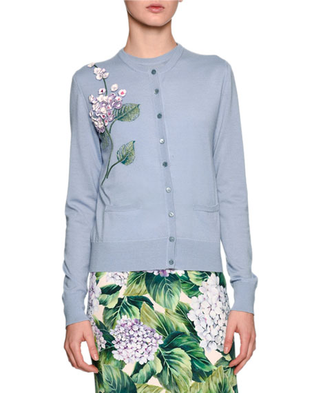 Dolce & Gabbana Embellished Hydrangea Cardigan Sweater, Light