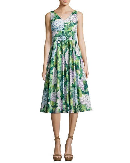 Dolce & Gabbana Hydrangea Sleeveless Smocked-Waist Midi Dress