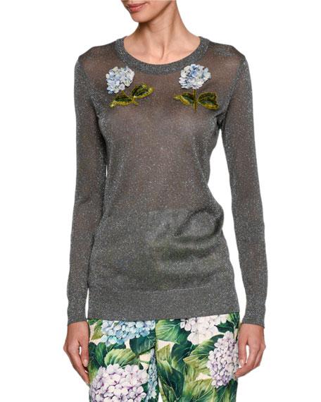 Embellished Hydrangea Metallic Sweater, Silver