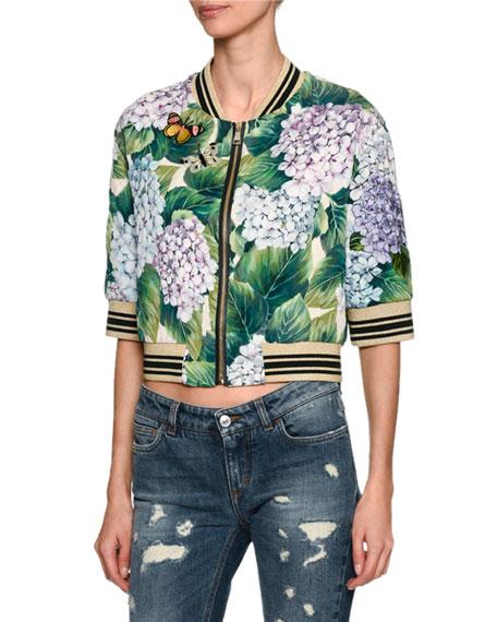 Dolce & Gabbana Elbow-Sleeve Hydrangea Bomber Jacket, Green