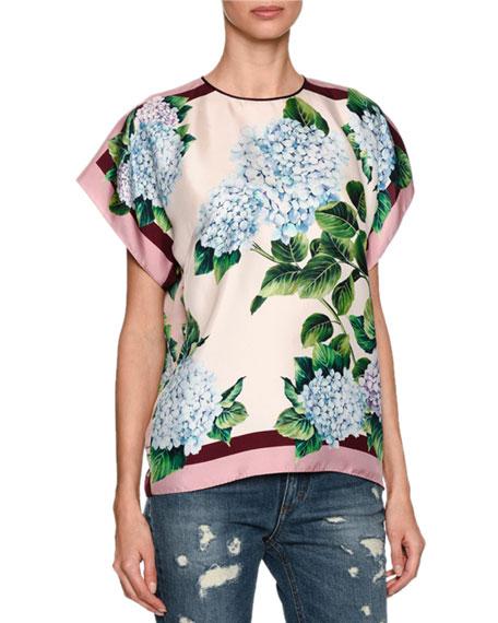 Dolce & Gabbana Hydrangea Silk Twill Top, Multicolor