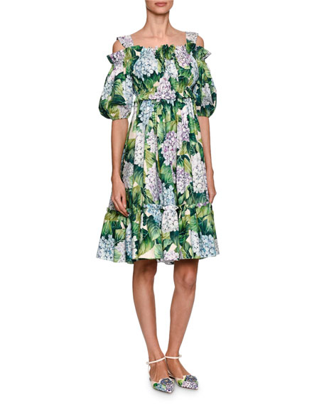 Hydrangea Printed Off-the-Shoulder Dress, Green