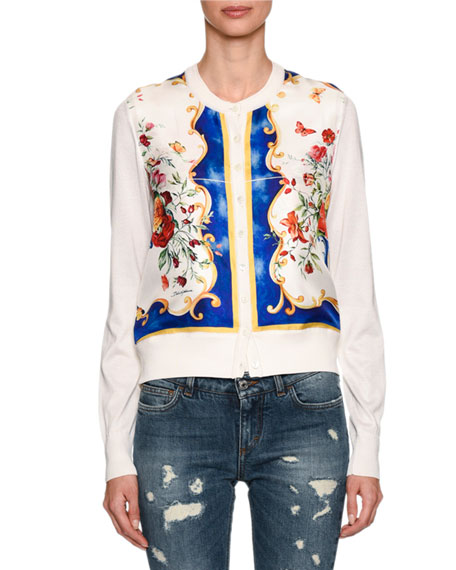 Dolce & Gabbana Baroque Floral-Print Cardigan, White and