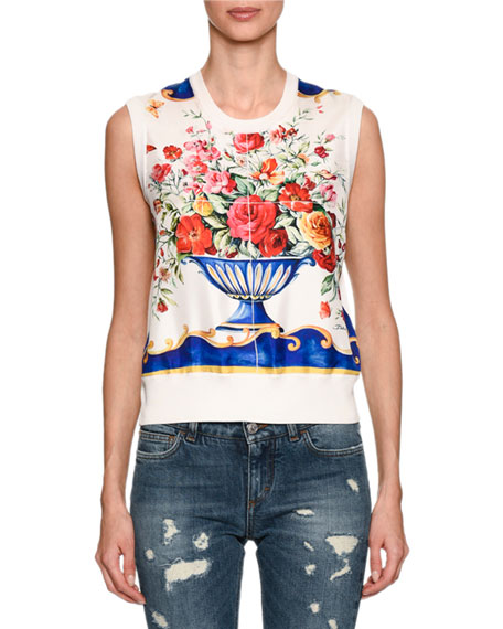 Floral Vase Shell Sweater, White