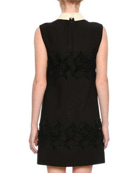 Sleeveless Lace-Inset Minidress, Black