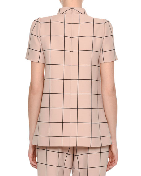Short-Sleeve Windowpane Mock-Neck Top, Blush