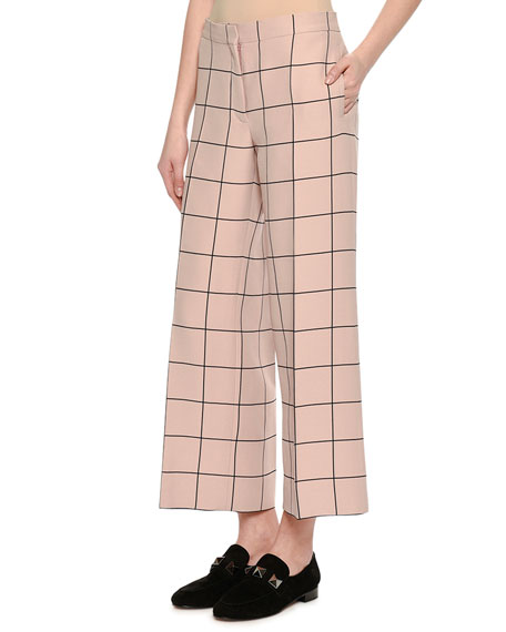 Cropped Wide-Leg Windowpane Trousers, Blush