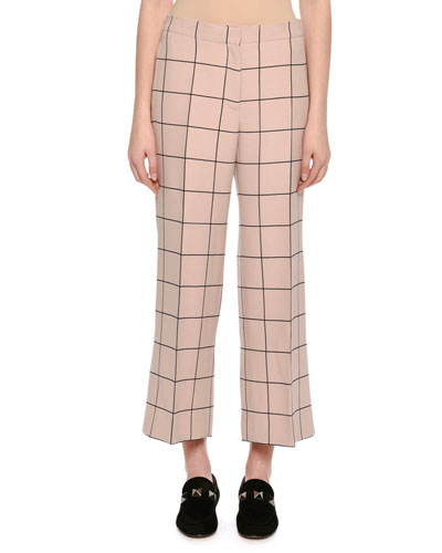 Cropped Wide-Leg Windowpane Trousers, Blush