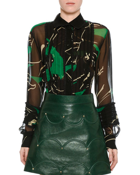 Valentino Chiffon Panther-Print Blouse, Green/Black and Matching