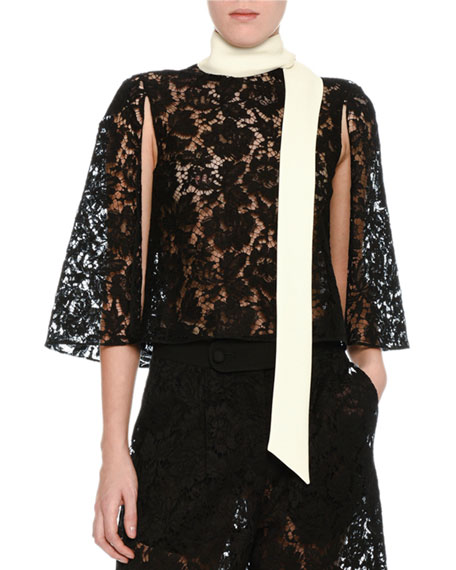 Lace Cape Top with Contrast Scarf, Black