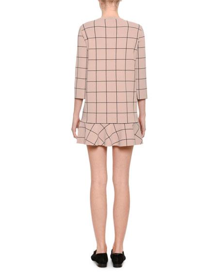 Windowpane 3/4-Sleeve Flounce-Hem Dress, Blush
