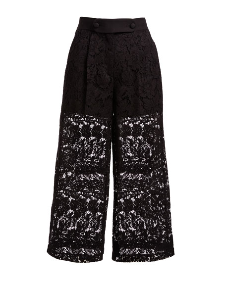 Lace Cropped Wide-Leg Pants, Black