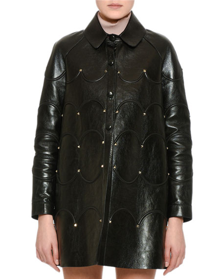 Valentino Scalloped Rockstud Leather Coat, Black and Matching