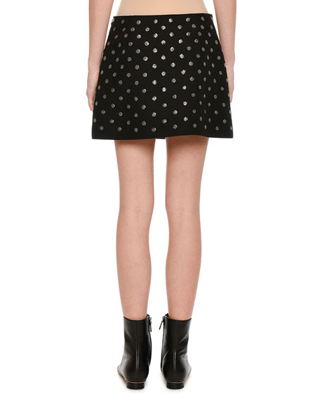 Embroidered Crepe Couture Mini Skirt, Black
