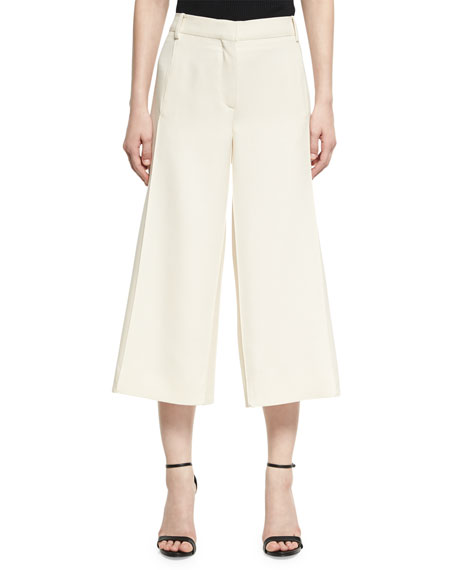 Crepe Couture Cropped Wide-Leg Pants, Ivory