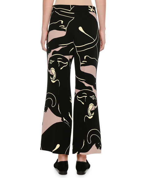 Panther-Print Wide-Leg Trousers, Pink/Black