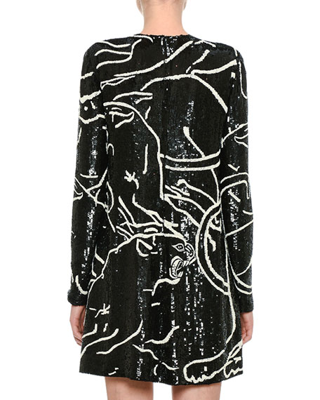 Sequined Panther Long-Sleeve Minidress, Black
