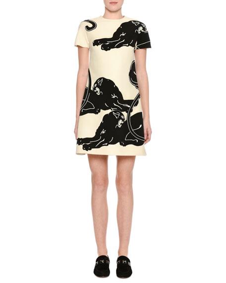 Panther Short-Sleeve Shift Dress, White/Black