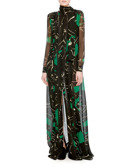 Panther-Print Chiffon Tie-Neck Gown, Green/Black