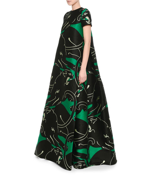 Panther Jacquard Archive Gown, Green/Black