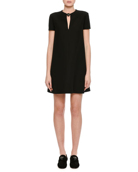 Valentino Crepe Couture Panther-Collar Shift Dress, Black