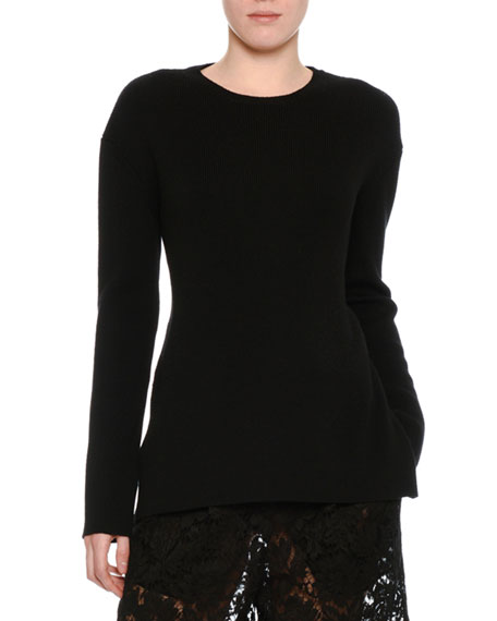 Ribbed Wool Lace-Back Sweater, Black