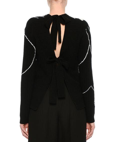Tiger Intarsia Tie-Back Sweater, Black/White