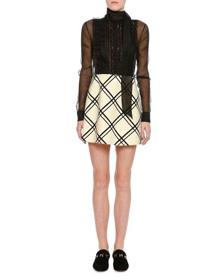 Valentino Windowpane Crepe Couture & Organza Minidress,