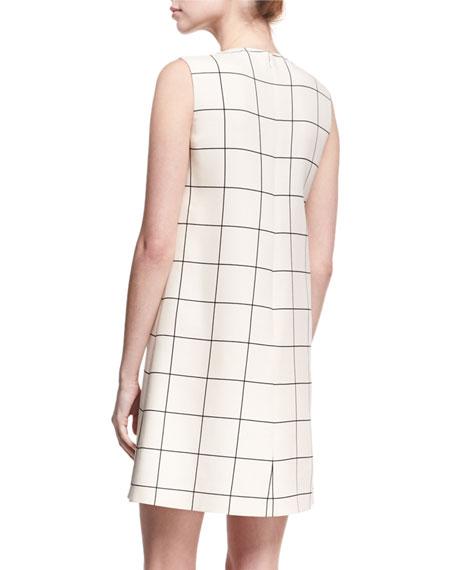 Sleeveless Windowpane Crepe Shift Dress, Ivory