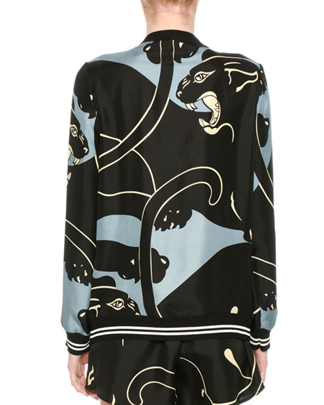 Silk Tiger-Print V-Neck Cardigan with Bow, Gray