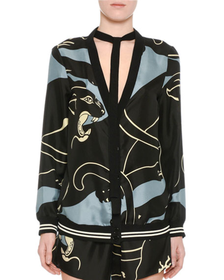 Valentino Silk Tiger-Print V-Neck Cardigan with Bow, Gray