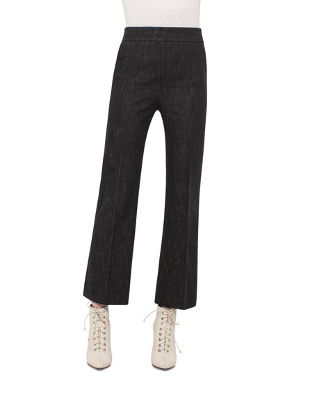Cara Cropped Full-Leg Denim Pants, Black